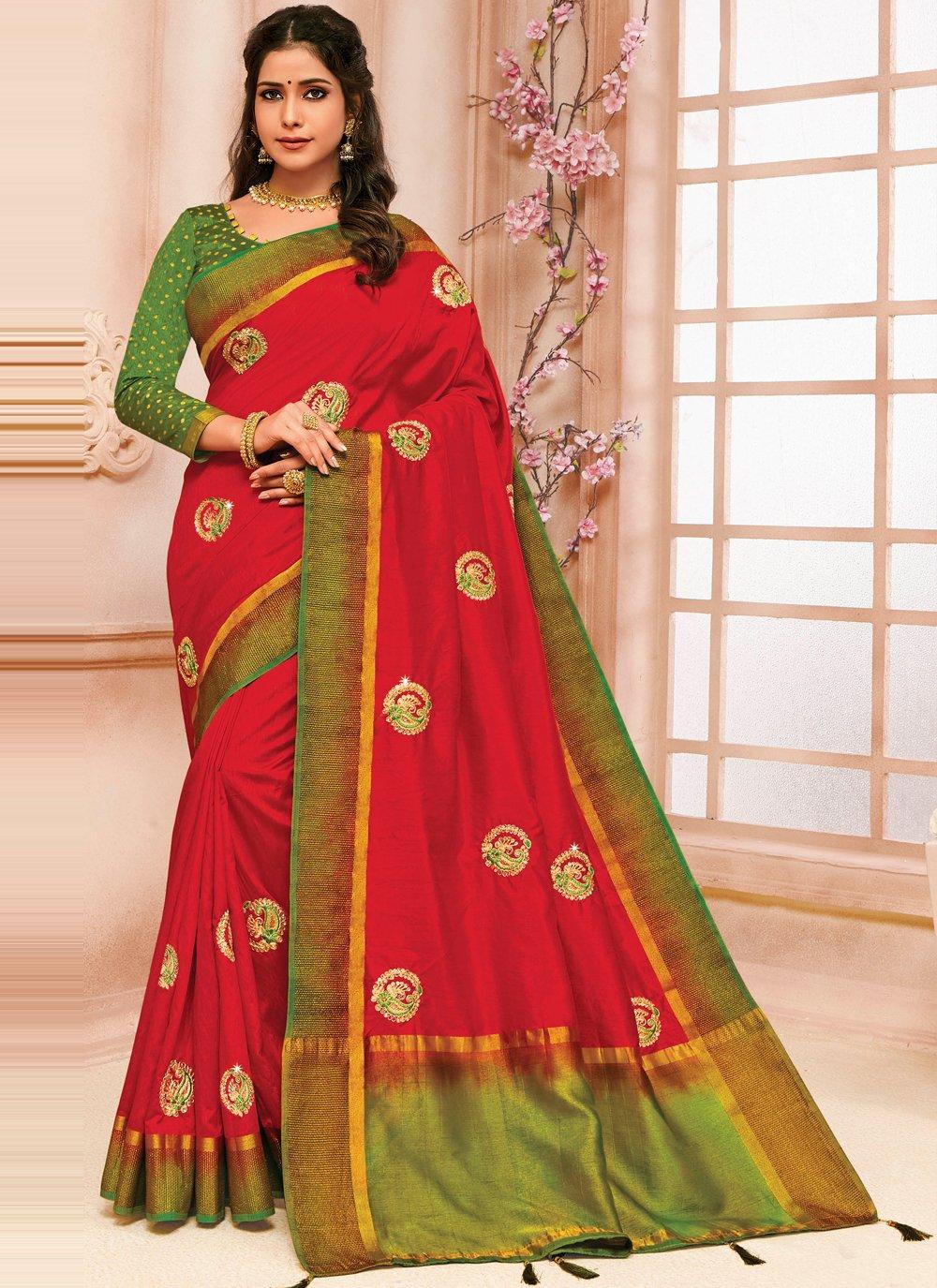 Maroon Embroidered Raw Silk Designer Traditional Saree