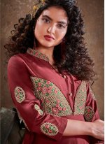 Maroon Embroidered Readymade Anarkali Suit