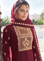 Maroon Embroidered Readymade Suit