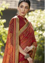 Maroon Embroidered Traditional Saree