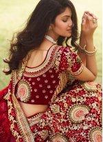 Maroon Engagement Silk Lehenga Choli