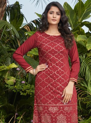 Maroon Fancy Cotton Party Wear Kurti
