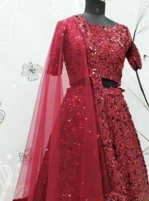 Maroon Fancy Fabric Sangeet Lehenga Choli