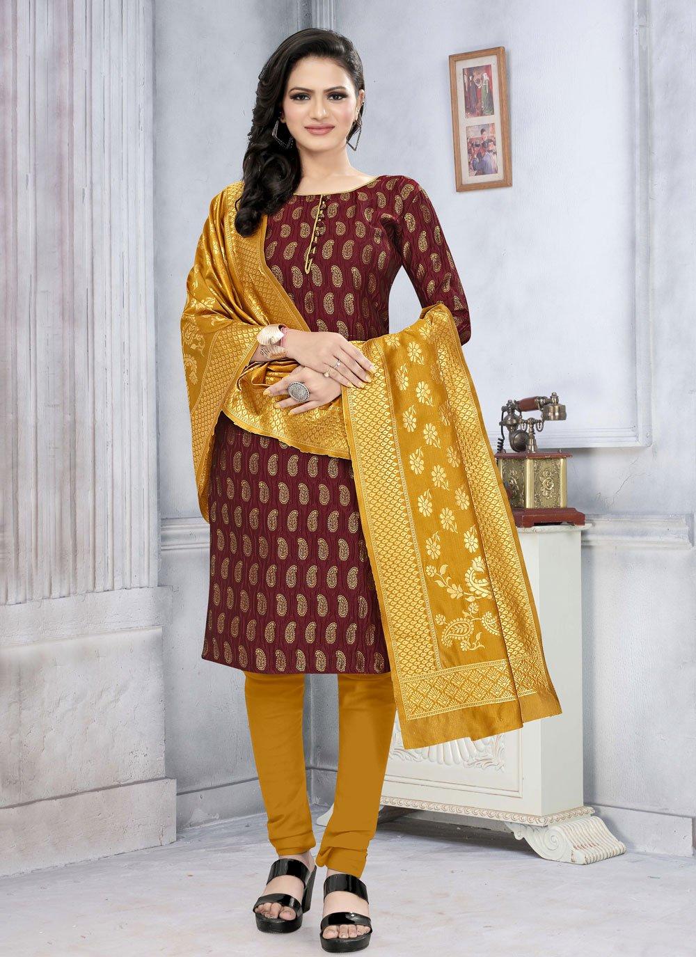 Maroon Fancy Fabric Weaving Churidar Suit