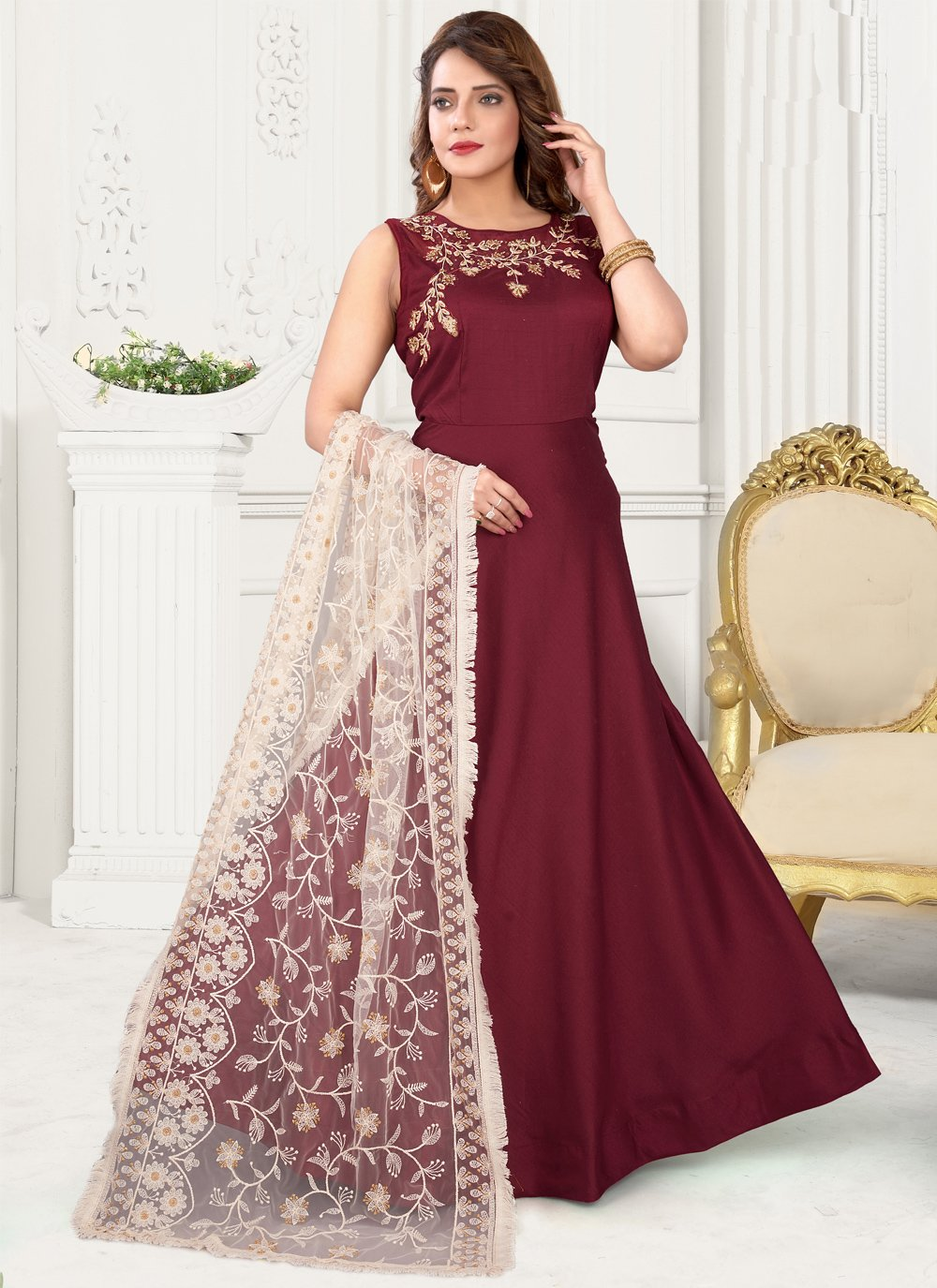 Maroon Fancy Floor Length Anarkali Suit