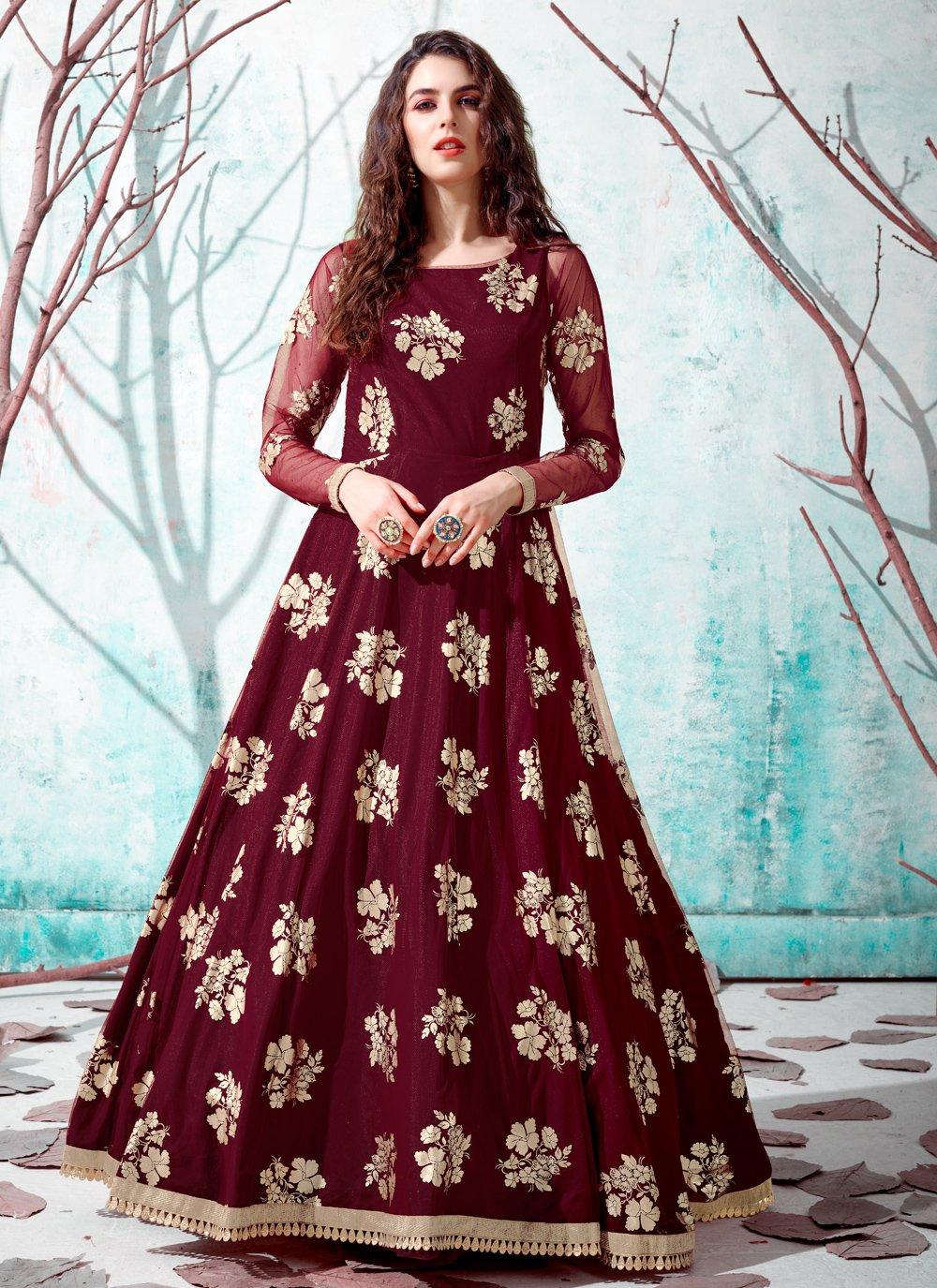 Maroon Fancy Net Designer Gown