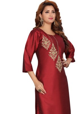 Maroon Fancy Party Wear Kurti