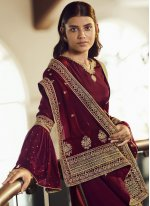 Maroon Faux Chiffon Designer Pakistani Suit