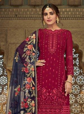 Maroon Faux Georgette Ceremonial Designer Palazzo Suit