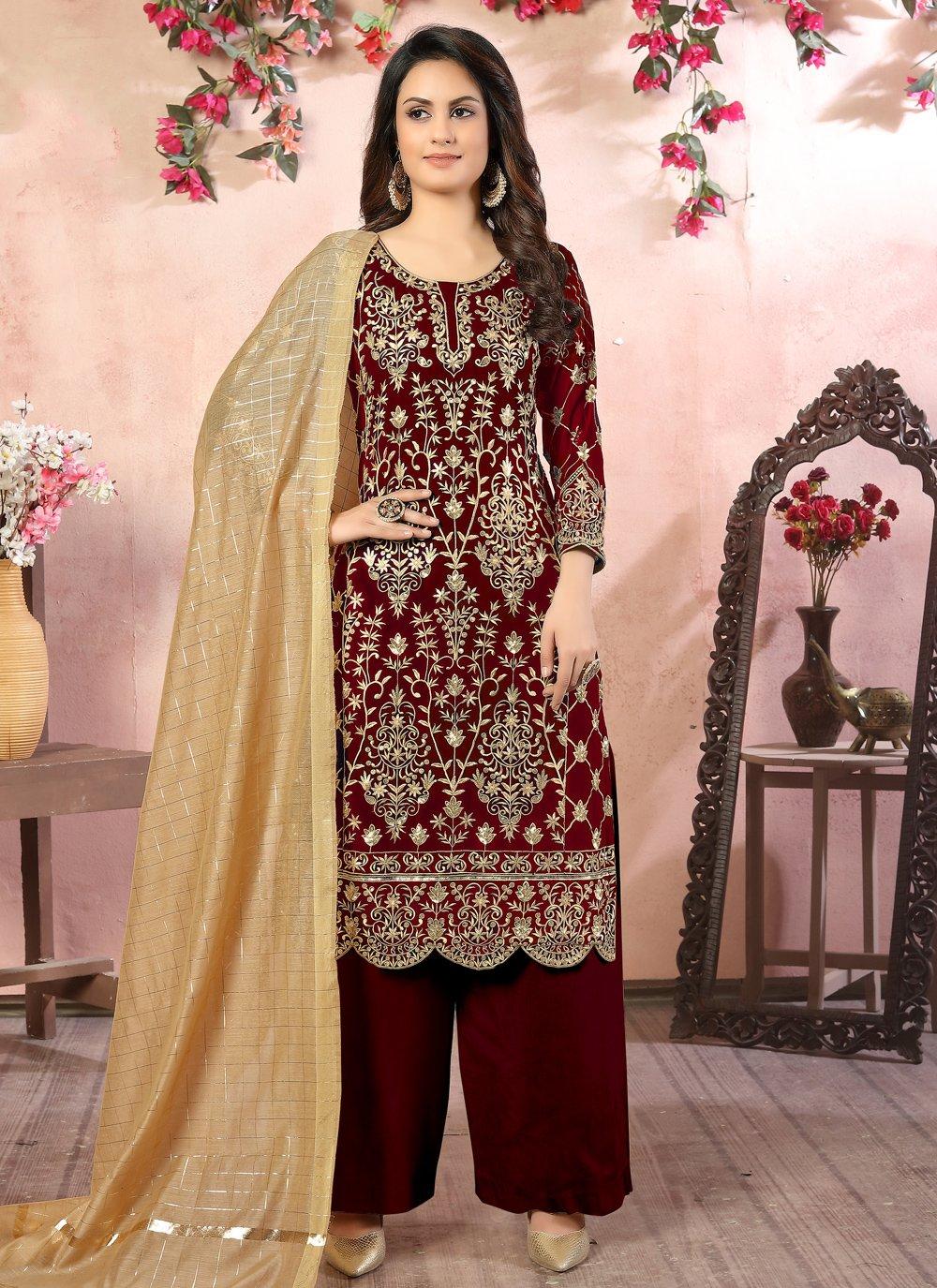 Maroon Faux Georgette Embroidered Bollywood Salwar Kameez