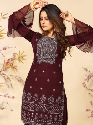 Maroon Faux Georgette Festival Readymade Suit