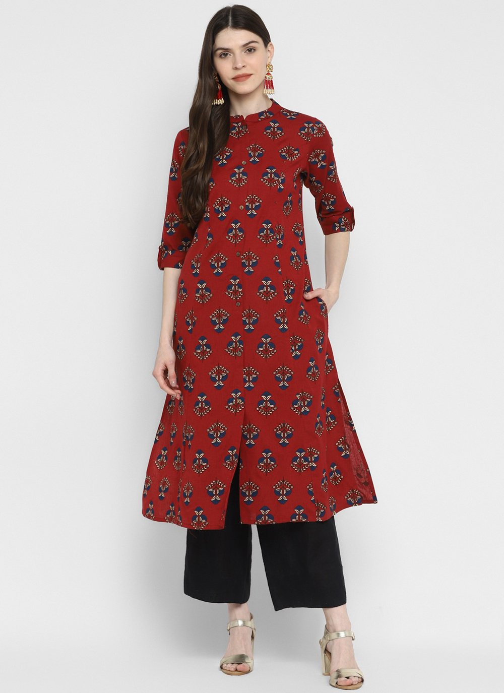 Maroon Festival Cotton Party Wear Kurti