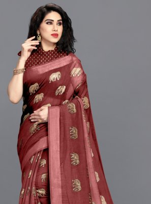 Maroon Festival Cotton Printed Saree