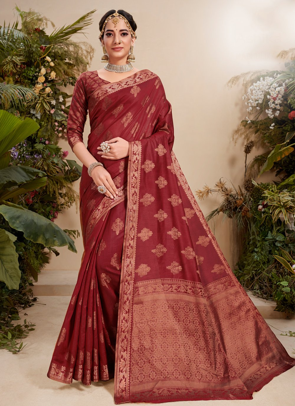 Maroon Festival Fancy Fabric Traditional Saree