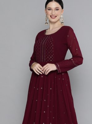 Maroon Georgette Embroidered Party Wear Kurti