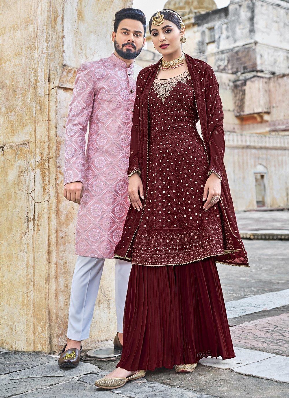 Maroon Georgette Festival Salwar Suit