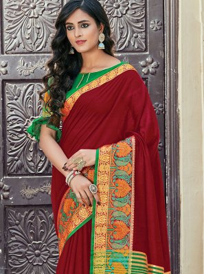 Maroon Handloom Cotton Woven Classic Saree
