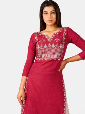 Maroon Khadi Party Wear Kurti