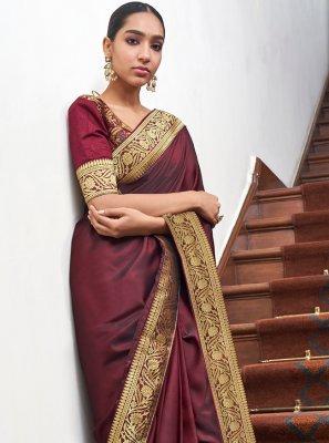 Maroon Lace Art Silk Designer Traditional Saree