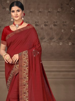 Maroon Lace Traditional Saree