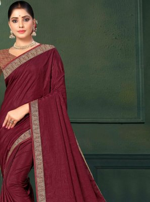 Maroon Lace Trendy Saree