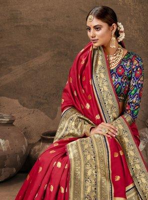 Maroon Party Banarasi Silk Traditional Designer Saree