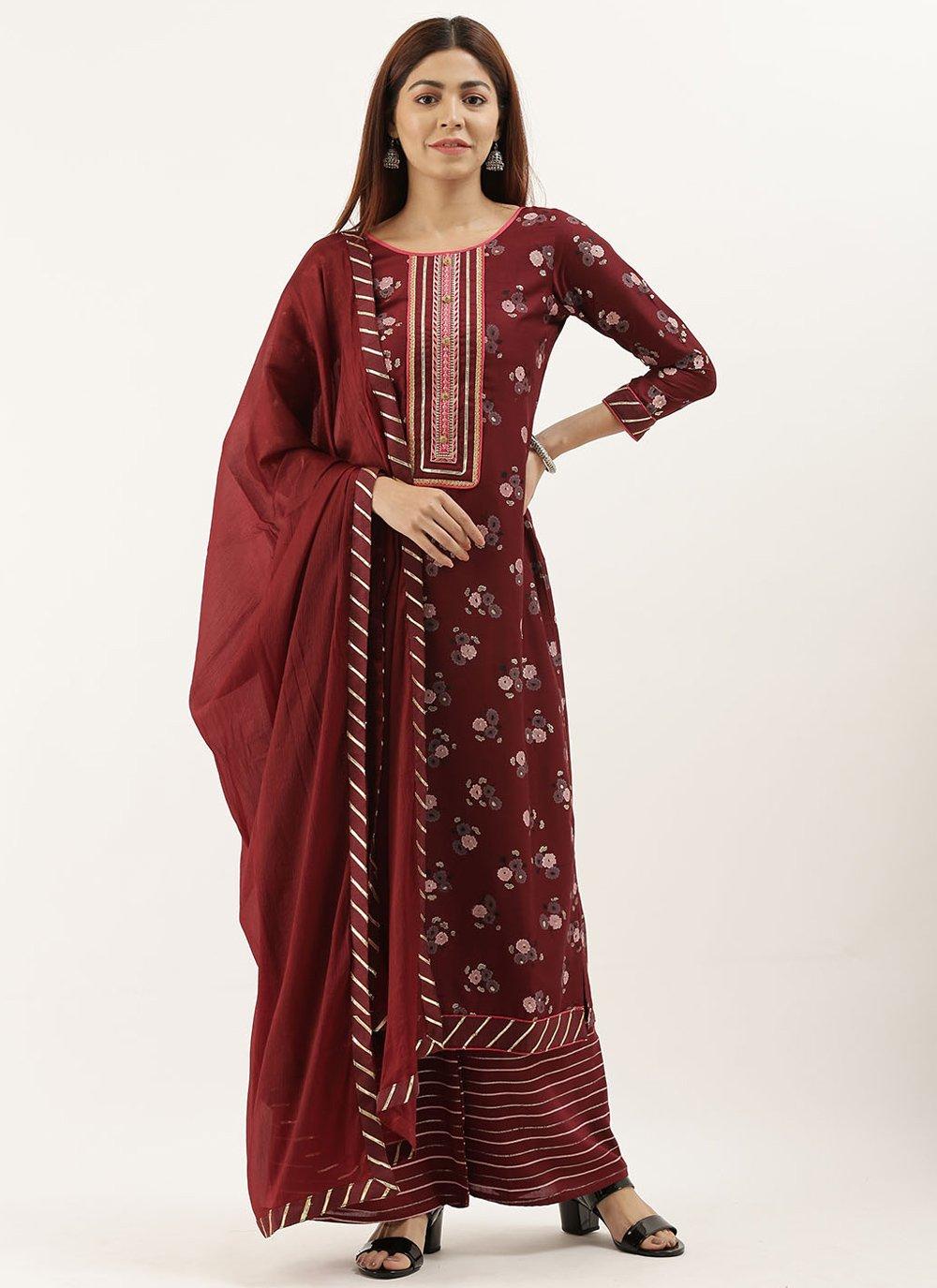 Maroon Party Designer Pakistani Suit