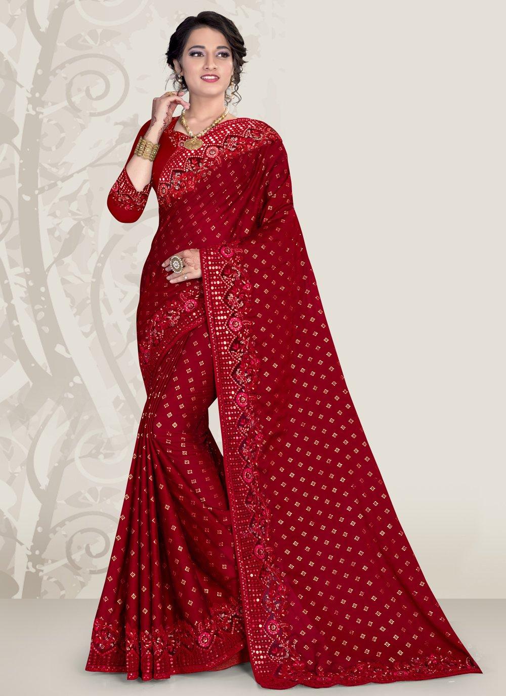 Maroon Patch Border Banglori Silk Designer Traditional Saree