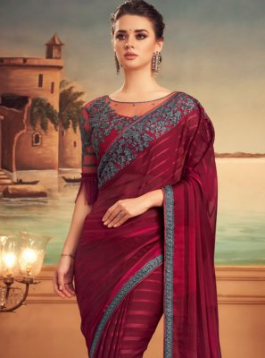 Maroon Patch Border Silk Designer Traditional Saree