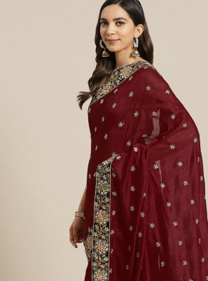 Maroon Patch Border Traditional Designer Saree