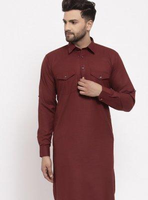 Maroon Plain Kurta Pyjama