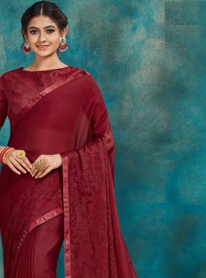 Maroon Poly Silk Embroidered Traditional Saree