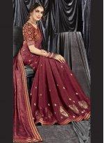 Maroon Print Classic Designer Saree