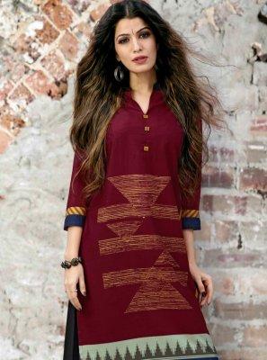 Maroon Print Fancy Fabric Party Wear Kurti