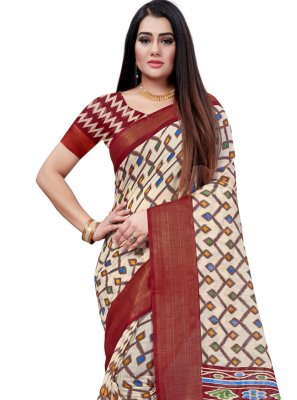 Maroon Printed Casual Printed Saree