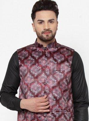 Maroon Printed Cotton Satin Nehru Jackets