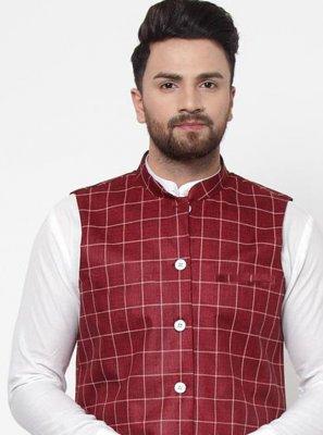 Maroon Printed Mehndi Nehru Jackets