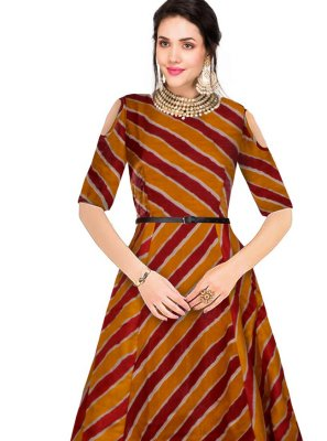 Maroon Printed Party Wear Kurti