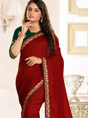 Maroon Raw Silk Embroidered Traditional Designer Saree