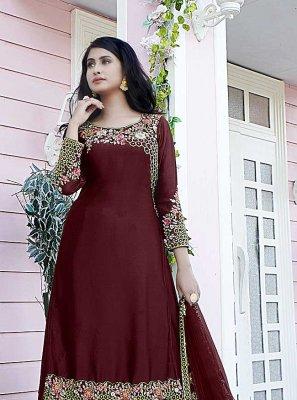 Maroon Satin Designer Pakistani Suit