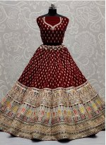Maroon Sequins Velvet Lehenga Choli
