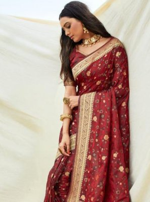Maroon Silk Designer Traditional Saree
