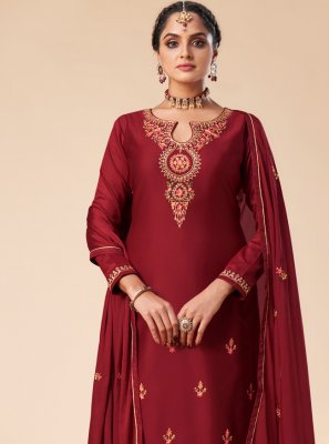 Maroon Silk Festival Designer Salwar Suit