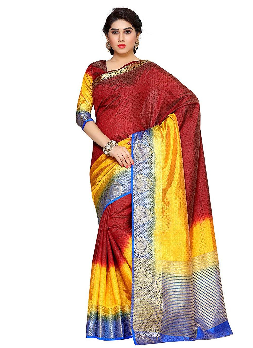 Maroon Silk Traditional Designer Saree