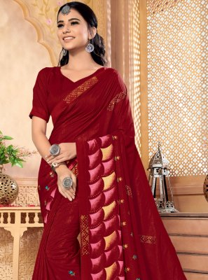 Maroon Silk Trendy Saree