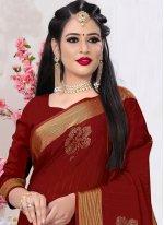 Maroon Swarovski Satin Silk Trendy Saree