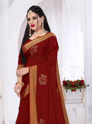 Maroon Swarovski Satin Silk Trendy Saree