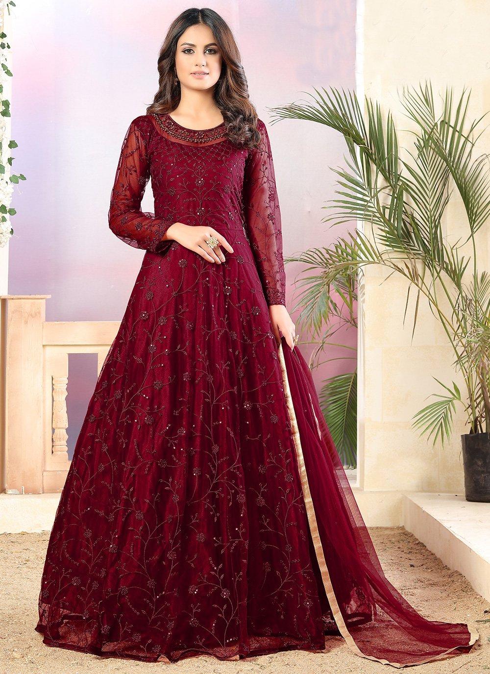 Maroon Thread Trendy Salwar Suit