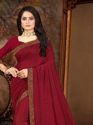 Maroon Vichitra Silk Traditional Saree