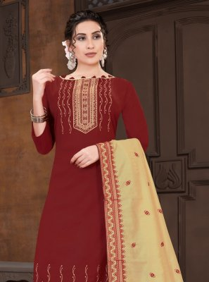 Maroon Viscose Designer Straight Suit